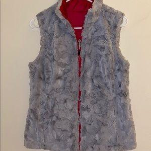 Northface Fuzzy Vest Pink/Gray XS